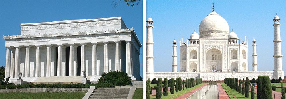 Lincoln Memorial and Taj Mahal